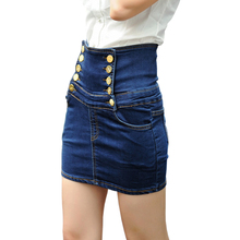 High Waisted Denim Skirts 2016 Summer Women's Plus Size Skirt Bodyshape Ladies Pencil Skirts Jeans Falda Femininas