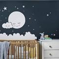 Луна Наклейка на стену облако детские наклейки на стену для детской комнаты Наклейка на стену звезды Наклейка на стену для девочек декорати...