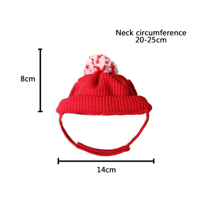 Winter pet Cat Dog Caps Christmas Hats  Santa Claus costume Warm Dog Pet hat with a Woolen Ball Grooming accessories