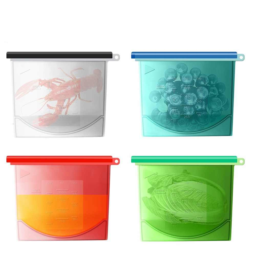 4pcs/set Reusable Silicone Food Fresh Bags Wraps Fridge Food Storage Containers Refrigerator Bag Kitchen Colored Ziplock Bags