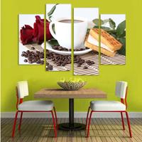 Canvas Print Painting Artwork Cafe Styles Coffee Beans CFf025 HD 4 Panels Set Wall Art Picture