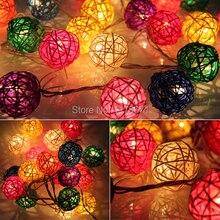 20pcs 7 Colors Sepak Takraw Ball Wedding Holiday New Year Christmas Garland Decoration Nightlight flasher Christmas Strip Light
