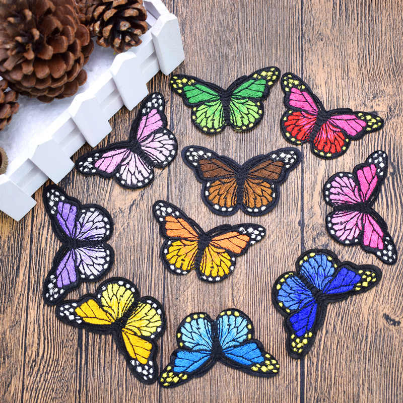 """BUTTERFLY RAINBOW PATCH 4/"""" Vintage Classic Embroidered Colors Iron-on /& Sew-on"""