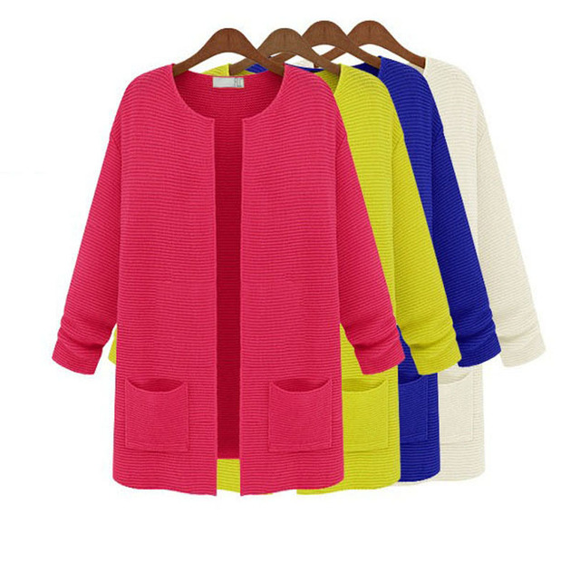 New Women Spring Summer Knitted Cardigans 11 Colors Plus Size Loose Design Lady Long Sleeve Thick Coat Free Ship J04