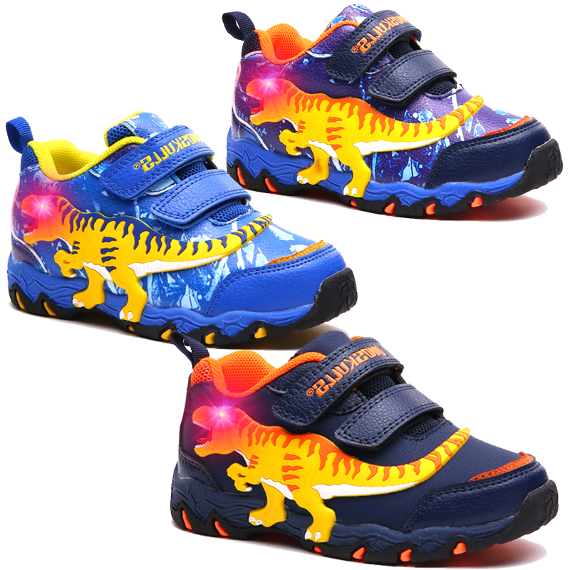 US $23 98 30% OFF|Dinoskulls Kids Boys LED Shoes 3D Dinosaur Casual  Children's Sneakers Light Up 2019 Baby Boy Trainers Glowing Sports Shoes-in