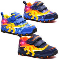 Dinoskulls Kids Boys LED Shoes 3D Dinosaur Casual Children's Sneakers Light Up 2019 Baby Boy Trainers Glowing Sports Shoes