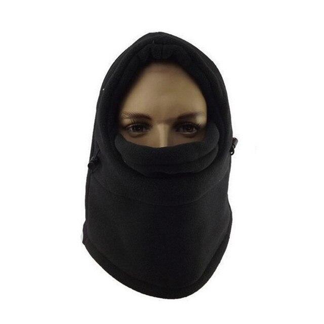 eb683ae82b6 Fashion Black 6 in 1 Neck Balaclava Winter Face Hat Fleece Hood Ski Mask  Warm Helmet Warmth polar fleece fabric