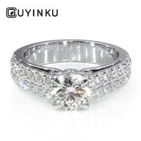 GUYINKU 5.5mm FG Color Moissanite Genuine 14K White Gold Engagement Ring for Women Wedding Anniversary Engagement Gift