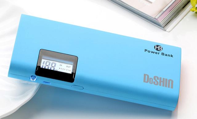 DOSHIN Pantalla LCD Banco de la Energía 12000 mAh Dual USB 18650 Batería Li-ion Powerbank Cargador Portátil para todos los teléfonos