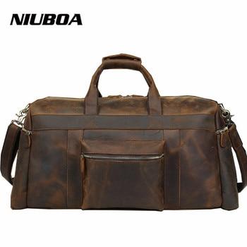 73347a6c8beb NIUBOA 100% натуральная кожа Дорожная сумка Качественная мужская спортивная  сумка большая емкость сумка с плечевым ремнем Crazy Horse кожаная сумка
