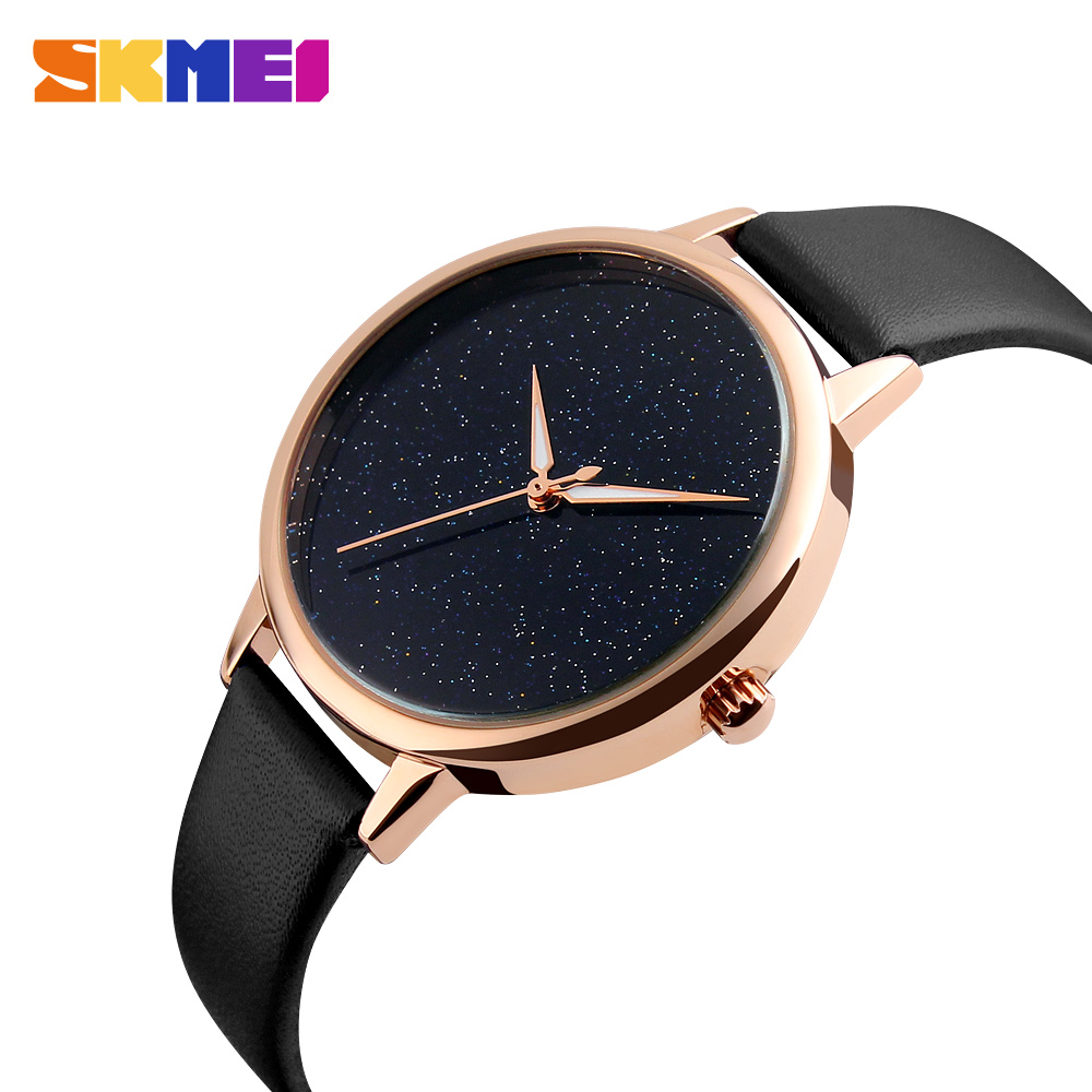 2017 Relogio Luxury Watch Women Clock Dress Watch Skmei Brand Womens Casual Leather Quartz-watch Analog Women's Wrist Watch 9141