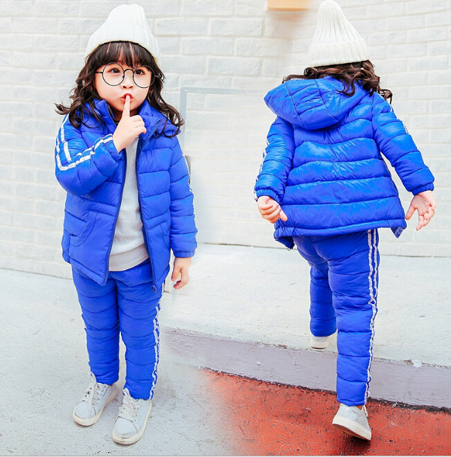 2018 Children Set Boys Girls Clothing Sets Winter Hooded Down Jackets+Trousers Waterproof Thick Warm Tracksuit Kids Clothing Set children set boys girls clothing sets winter hooded down jackets trousers waterproof thick warm tracksuts kids clothing sets hot