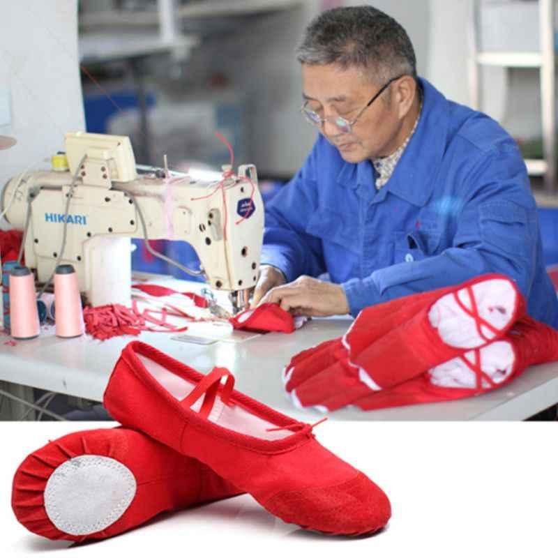 Zapatos de Ballet de algodón de lona para niña