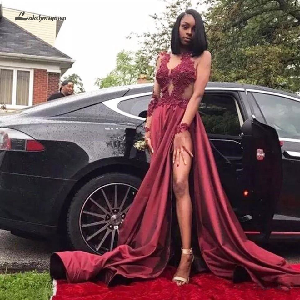 Lakshmigown Burgundy Black Girls Evening Party Dress Long 2019 Vestido de Gala Sexy Long Sleeve Prom Dresses High Side Split(China)