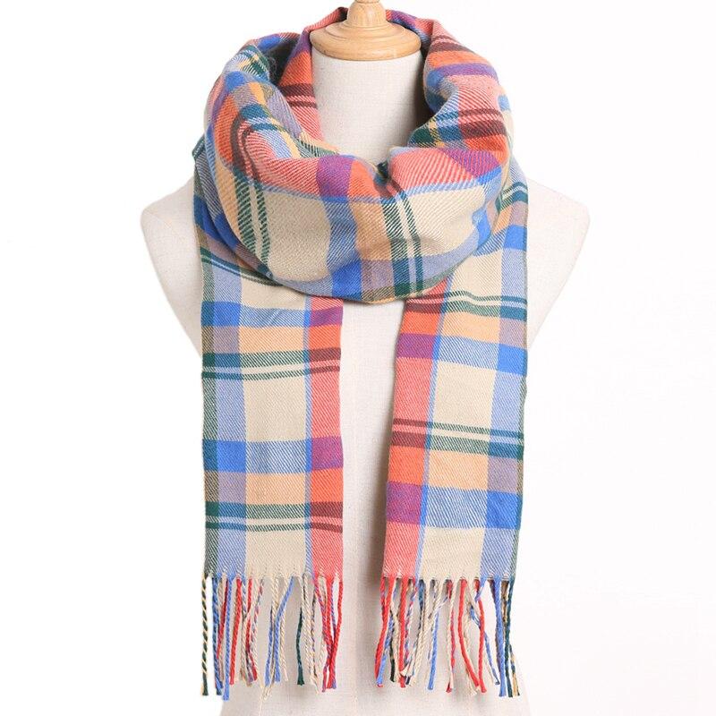 [VIANOSI] клетчатый зимний шарф женский тёплый платок одноцветные шарфы модные шарфы на каждый день кашемировые шарфы - Цвет: 17