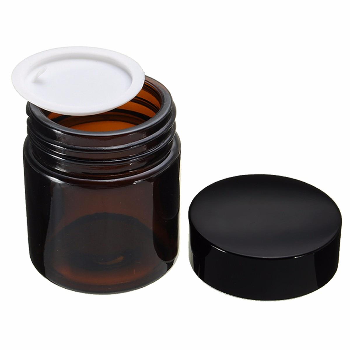 1pcs Brown Round Empty Amber Glass Jar Makeup Pot 120ml