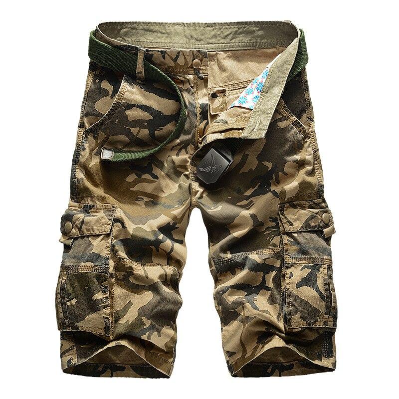 Nuevo pantalones cortos hombres diseño camuflaje militar ejército pantalones cortos caqui Homme verano Outwear Hip Hop Casual de carga Camo para hombres pantalones cortos