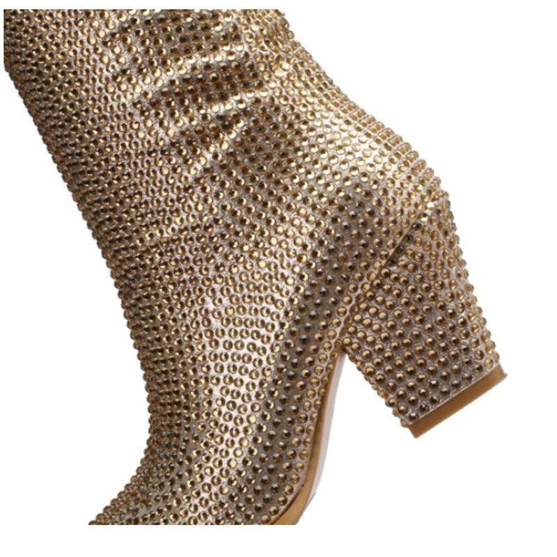 브랜드 라인 석 겨울 부츠 여성 하이힐 패션 지적 발가락 무릎 부츠 여성 신발 편안한 여성 높은 부츠-에서무릎 - 하이 부츠부터 신발 의  그룹 3