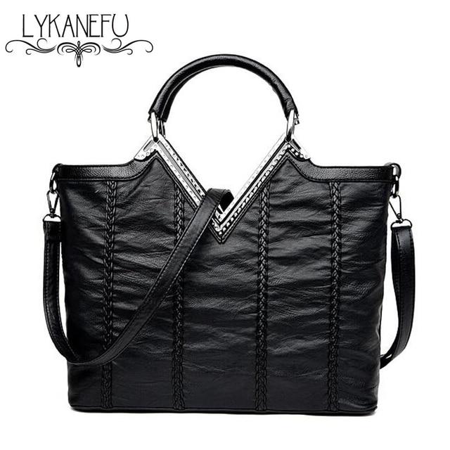 efdd01420f LYKANEFU PU Leather Bag OL Lady Purse Women Handbag Tote Shoulder Bags  Bolsa Feminina Designer Handbags