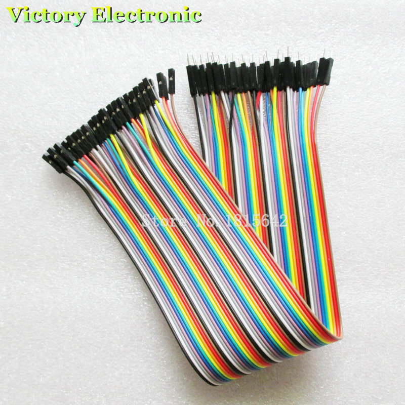 40PCS/Lot 30cm 2.54mm 1Pin Male To Female Jumper Wire Dupont Cable New Wholesale