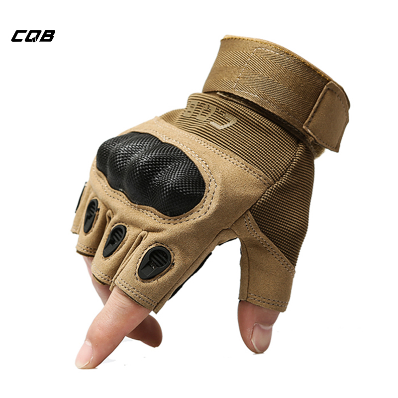 CQB Outdoor Sports Tactical Military Men's Gloves Half Full Finger for Hiking Riding Cycling Gloves Protection Shell Gloves oumily the second generation outdoor tactical half finger gloves gray black size xl pair