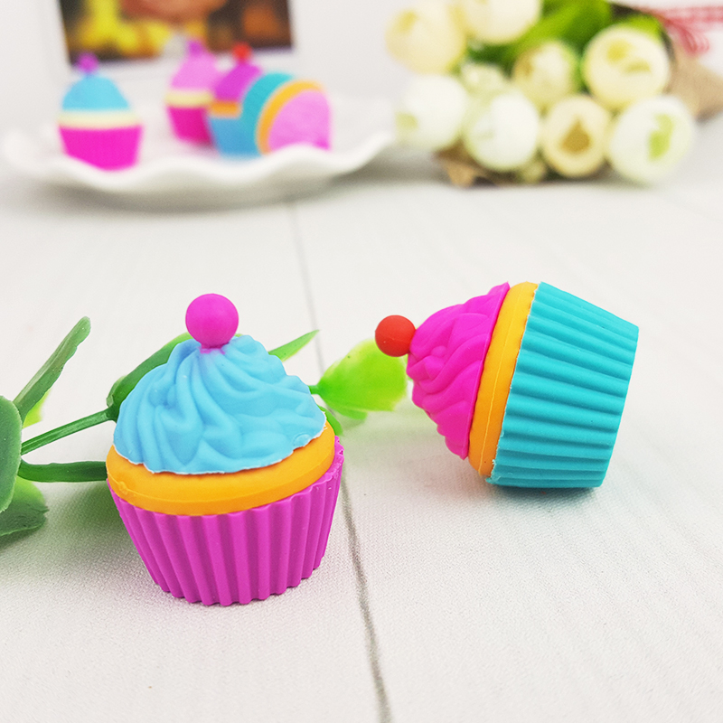 2Pcs/Lot Cute Cake Dessert Cup Eraser Rubber Stationery  Shaped Creative Kawaii School Supplies Learning Office Supplies