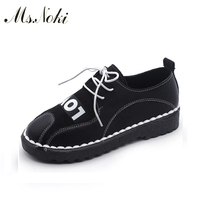 Ms Noki 2017 Fashion Lace Up Casual Women Shoes Brand Leisure Shoes Designer Flats Cheap China