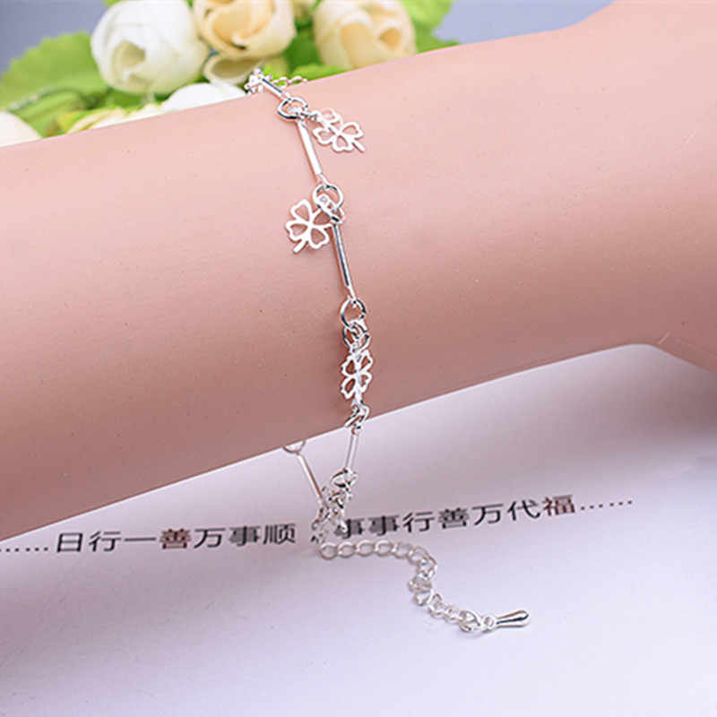 New Style Stamped Silver Plated Bracelet Four Leaf Clover Charm Bracelet & Bangle for Women Wedding Party Jewelry Gifts