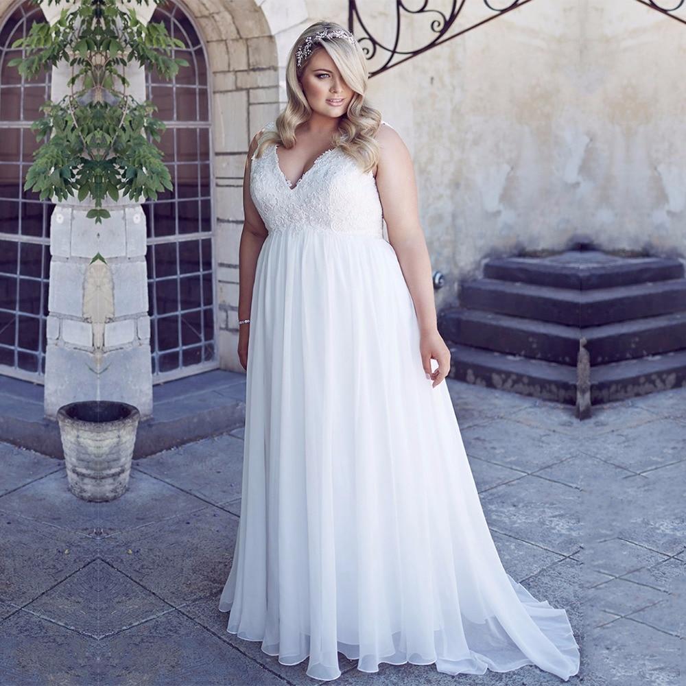 Inexpensive Plus Size Wedding Gowns: Elegant Beaded Lace Chiffon Plus Size Wedding Dress Empire