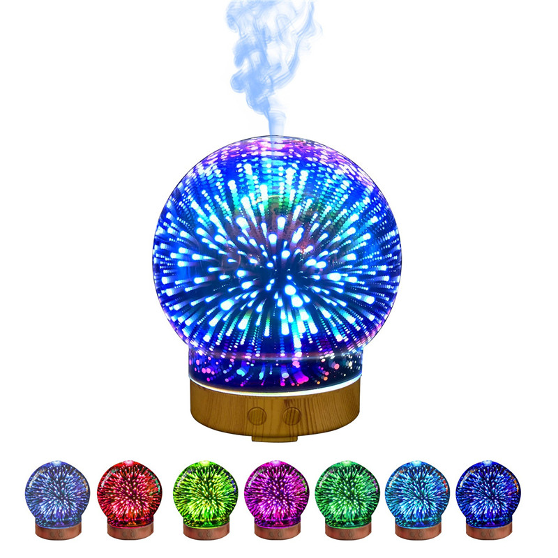 IVYSHION 1PC 3D Glass Ball Pattern Humidifier Home Aroma Essential Oil Diffuser With Seven Color Night Lights Air Purification ivyshion 1pc arotrerapy humidifier creative heart fireworks led night light air humidifier seven colors aroma diffuser for home