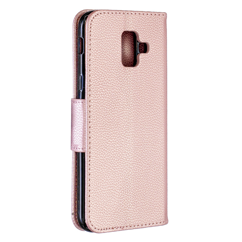 Solid Color PU Leather Flip Case on For Samsung A6 2018 Case Mobile Phone For Samsung Galaxy A6 Plus 2018 Wallet Cover bag Coque in Flip Cases from Cellphones Telecommunications