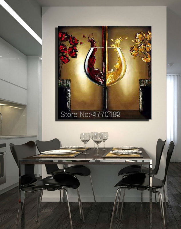 The red wine glass painting handmade modern abstract for Modern paintings for dining room