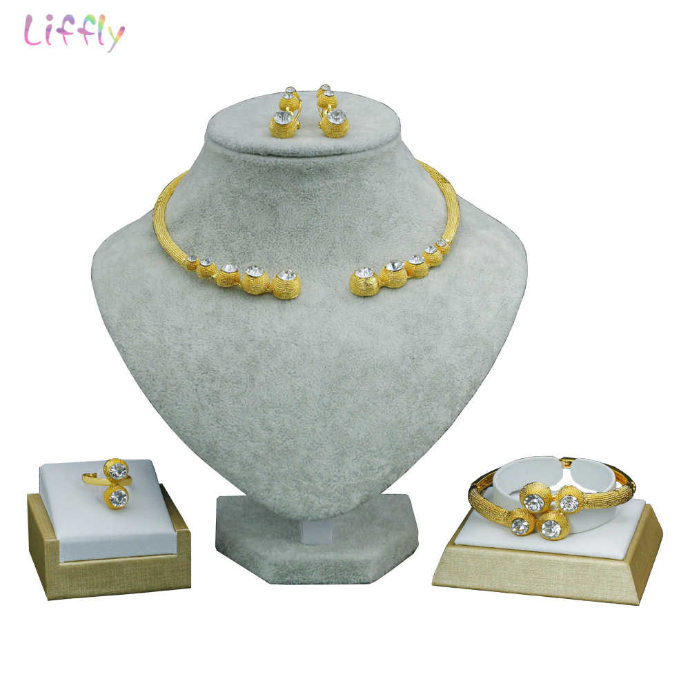 Liffly Fashion African Beads Jewelry Set Brand Luxury Dubai Gold-color Jewelry Set Nigerian Women Wedding Bridal Jewelry Sets