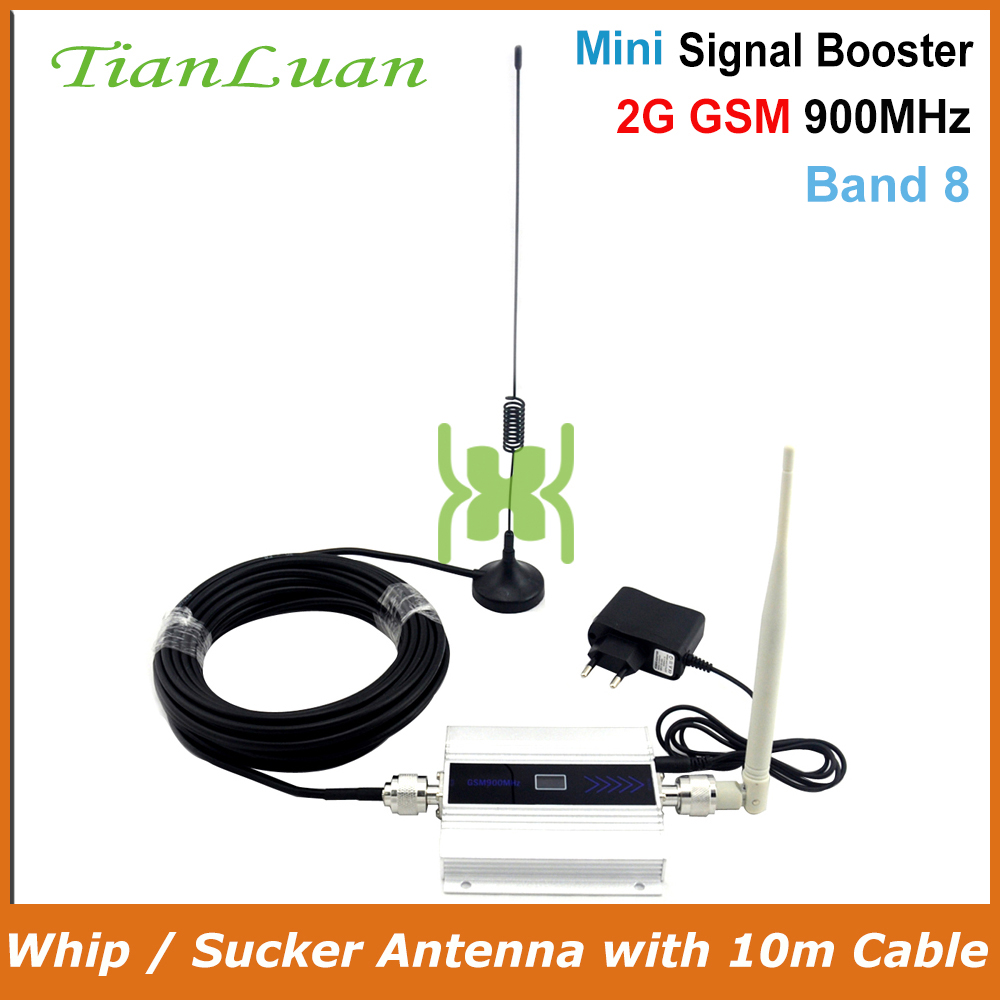 TianLuan GSM 900Mhz Mobile Phone Signal Booster 2G Signal Repeater Cell Phone Amplifier With Sucker / Whip Antenna / LCD Display