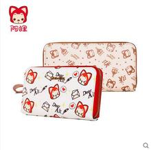 Free shipping cartoo Red little fox high quality PU long Wallet girl woman High capacity Wallet Korean version