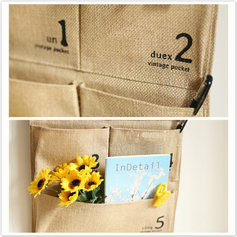 Zakka Vintage Cotton Linen Fabric 5 Pockets Hanging Storage Wall Bag ...