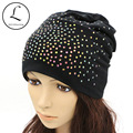 GZHILOVINGL Women Spring Autumn Winter Solid Color Skullies Slouchy colored Rhinestone Sequin Beanie Hats Bonnet Womens Gorro