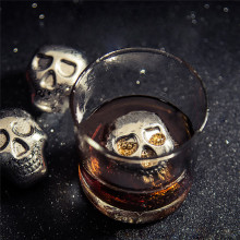 Personality 304 Stainless steel Skull Ice Cubes Whiskey Ice Drink Wiskey/wine/beer Cooler Appliances for Bar Accessories(China)