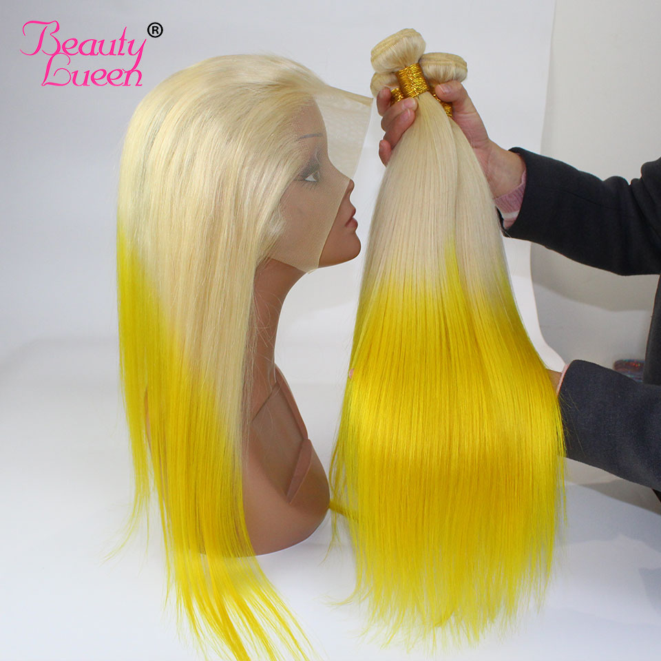 Ombre Blonde Bundles With Frontal T613 Yellow Straight Colored Bundles With Frontal Remy Ombre Brazilian Hair
