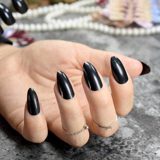 Pure Candy Acrylic Nails Classic Black Sharp Medium Size Stiletto Nail Art Tips Easy DIY Lady