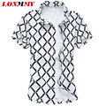 LONMMY M-5XL hombres camisa A Cuadros 100% algodón Camisa de cuadros de manga Corta Slim fit Hombres camisas de vestir de alta calidad 2016 Nuevo