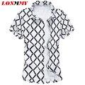 LONMMY cuadros M-5XL homens camisa Xadrez 100% algodão Camisa de manga Curta Slim fit Homens camisas de vestido de alta qualidade 2016 Nova