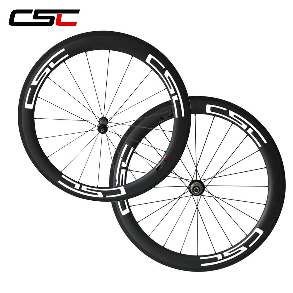 CSC Bike wheelset 700c 60mm full carbon fiber clincher road wheels 23mm width Powerway R36 hub