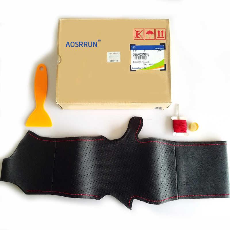 AOSRRUN araba aksesuarları dikiş hakiki deri araba direksiyon kılıfı için Chevrolet Cruze hatchback sedan 2009-2013 2014
