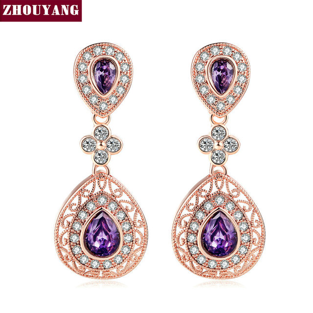 Vintage Refinement Hollow Out Purple Teardrop Crystal Rose Gold Color Stud Earring For Women Wedding