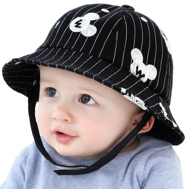 42bd620628f09 Hilenhug Baby Fishing Hat for Boys Girls 5 to 24 Months Bucket Hat with  Adjustable Band Infant Toddler Cap Black White Striped