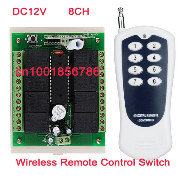 Free shipping 12V 8CH RF Wireless Remote Control Switch System /transmitter and Receiver 315mhz 433mhz z-wave in off switches free shipping low price 1ch rf wireless remote control with tracking number 315 433 92 mhz transmitter on off