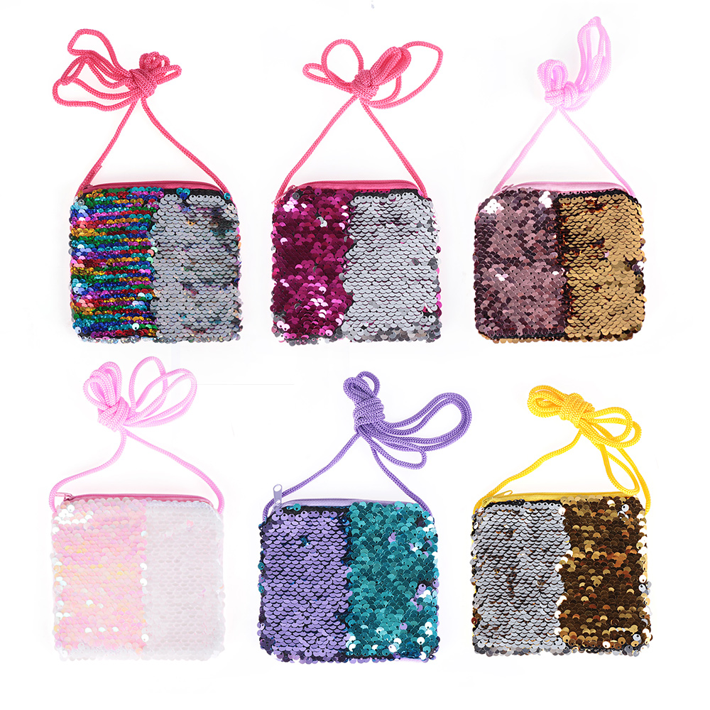 Fashion Sequins Coin Purse Kids Girls Mini Crossbody Bags Women Earphone Bags Small Wallet Children's Money Change Kids Gifts