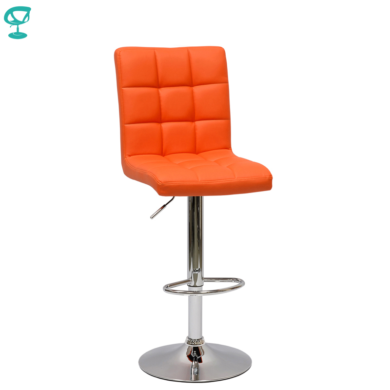 94564 Barneo N-48 Leather Kitchen Breakfast Bar Stool Swivel Bar Chair Orange Color Free Shipping In Russia