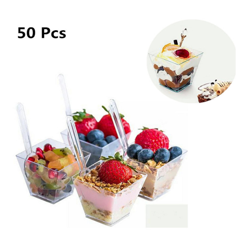 Cup Dessert-Cups Party-Accessories Tasting Disposable Wedding Pc For Bowls Square Clear